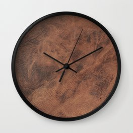 Old Tan Leather Print Texture | Cowhide Wall Clock