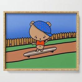 Cute Bear on a Skateboard - Whimsical Art for Kids Serving Tray