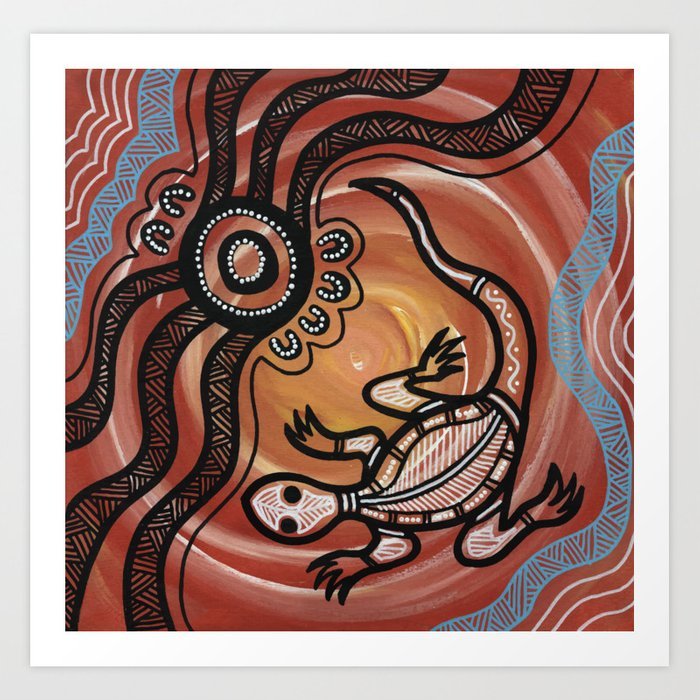 Aboriginal Art - Lizard Kunstdrucke