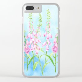 Watercolor Pink Foxgloves Clear iPhone Case