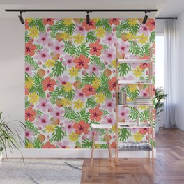 Tropical hibiscus and mango pattern Wall Mural
