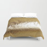 gold foil Duvet Covers featuring Gold Foil by The Wellington Boot