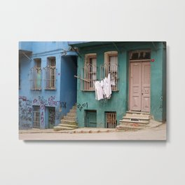 "Travel Photography ""street in Istanbul, Turkey with laundry, blue and green houses. Photo print.  Metal Print"