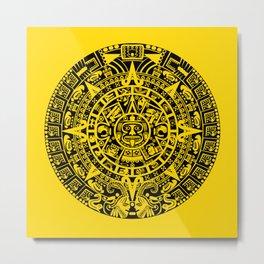 Mayan Calendar // Yellow Metal Print