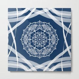 Mandala art design white navy blue pattern Metal Print