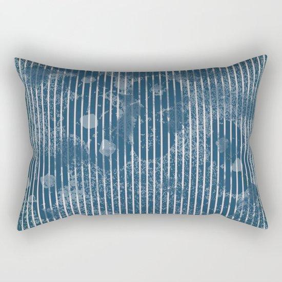 White stripes on grunge textured blue background Rectangular Pillow