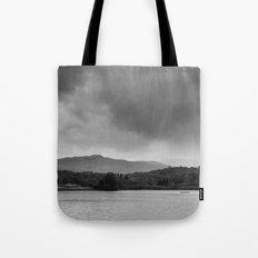 Rainclouds and rain over Rydal Water at dusk. Lake District, UK. Tote Bag