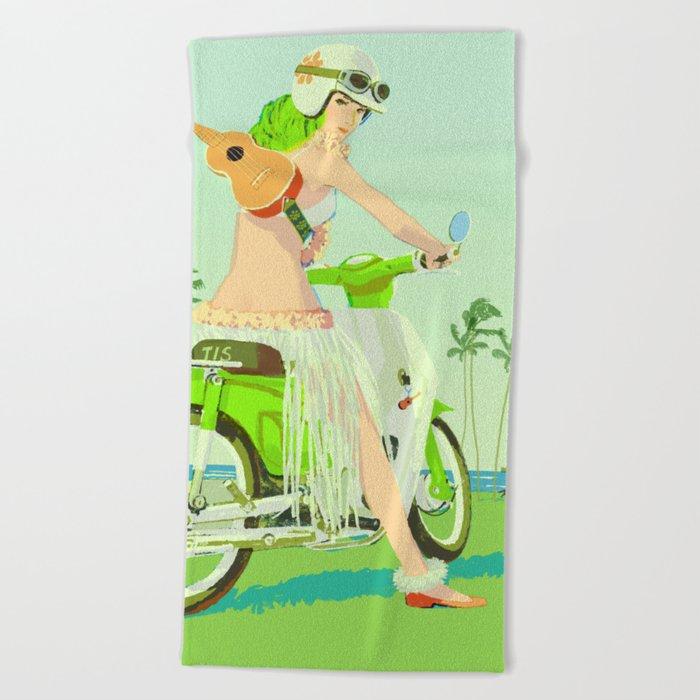 Ukulele Girl Beach Towel