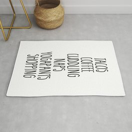 Tacos & Coffee Funny Quote Rug