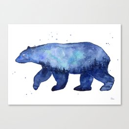 Blue Galaxy Forest Bear Silhouette Canvas Print