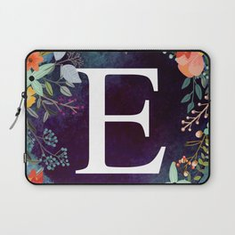 Personalized Monogram Initial Letter E Floral Wreath Artwork Laptop Sleeve