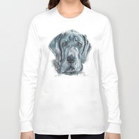 great dane Long Sleeve T-shirts featuring Baden // Blue Great Dane by ali_grace_gal