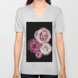 Purple, Pink, and White Roses Unisex V-Neck