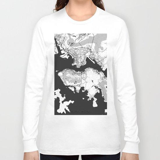 Hong Kong Map Gray Long Sleeve T-shirt