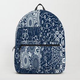 Japanese Flow Patch Blue Seamless Patterns Symbols Backpack