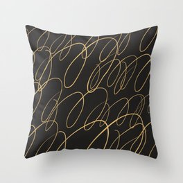 Gold drip paint splatter abstract Throw Pillow