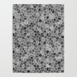 The Paths Taken Black and White Cobblestone Pattern Poster