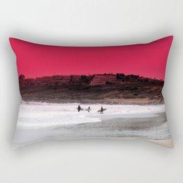 Surfers under a red sunset Rectangular Pillow