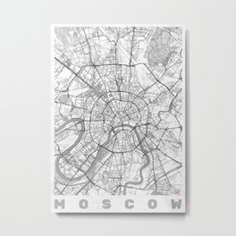 Moscow Map Line Metal Print