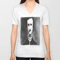 edgar allan poe V-neck T-shirts featuring Edgar Allan  Poe by dcsoccer10