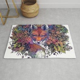 Hiding fox rainbow Rug