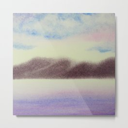 Mountain and Sea 4 / Watercolor Painting Metal Print