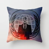 anonymous Throw Pillows featuring Anonymous by Sney1