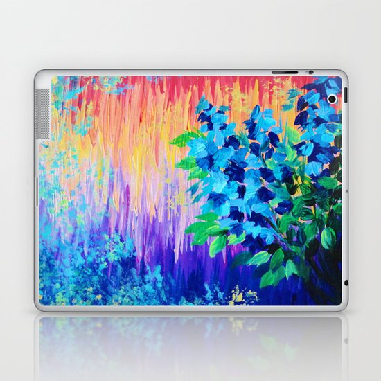 SHADES OF BEAUTIFUL - Stunning Bright BOLD Rainbow Ombre Pattern Blue Floral Hyacinth Nature Autumn Laptop & iPad Skin