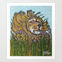 Lion in Lavender Painting Art Print