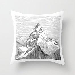 Mount Everest Black and White Throw Pillow