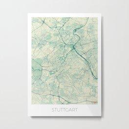 Stuttgart Map Blue Vintage Metal Print
