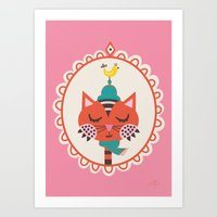 Art Print featuring Portrait of a Cat by Jolijou