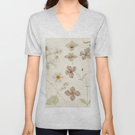 Julie de Graag - Study sheet with Sea Thistle, Hop and Clematis Unisex V-Neck