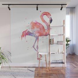 Pink Flamingo Watercolor Tropical Animals Bird Wall Mural