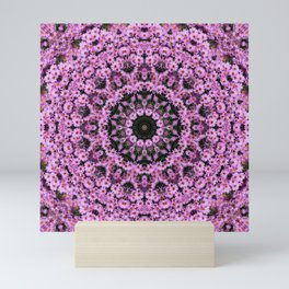 Kaleidoscope of purple flowers in a circle Mini Art Print