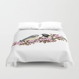 Chickadee Couple on Cherry Branch Duvet Cover