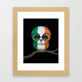 Baby Owl with Glasses and Irish Flag Framed Art Print