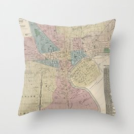 Vintage Map of Newark NJ (1879) Throw Pillow