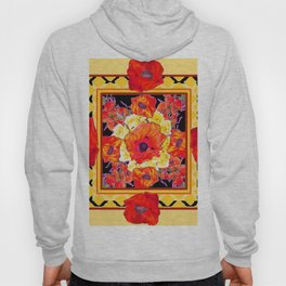 RED POPPIES DECORATIVE FLORAL ABSTRACT Hoody