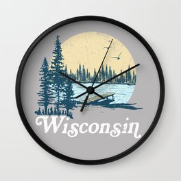 Vintage Wisconsin Dock on a Lake Wall Clock