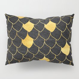 Black scales with random golden dots Pillow Sham