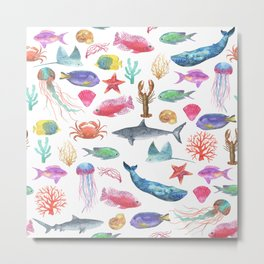 Marine Life, Colorful Ocean Life Fish and Whales in watercolor from Peppermint Creek Metal Print