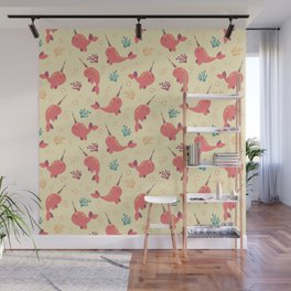 To the Window to the Narwhal - Coral & Cream Wall Mural