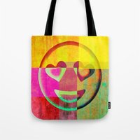 emoji Tote Bags featuring Emoji cushion by Sw19Gallery