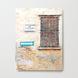 Faenza: road sign, road plate and window Metal Print