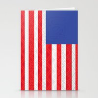 matty healy Stationery Cards featuring Zentangle American Flag by Gabrielle Healy by BHHS Graphic Design