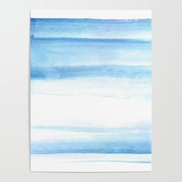180527 Abstact Watercolor 25 Blue| Watercolor Brush Strokes Poster