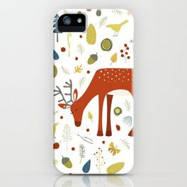 Deer and Forest Things iPhone Case