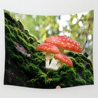 low poly Wall Tapestries featuring Low Poly Mushroom by Makar Deku