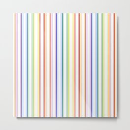 Split Rainbow Mattress Ticking Wide Stripes Pattern Metal Print
